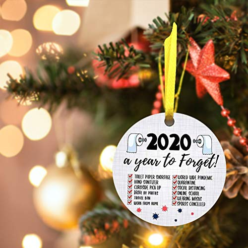 Onemopie Christmas Ornaments,2020 Handmade Christmas Tree Hanging Pendant,Christmas Decorations Home Party Decor Crafts,Personalized Letter Printed Room Decorating Props