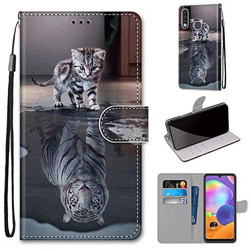 Miagon Flip PU Leder Schutzhülle für Samsung Galaxy A70e,Bunt Muster Hülle Brieftasche Case Cover Ständer mit Kartenfächer Trageschlaufe,Katze Tiger