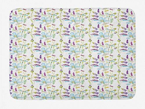 Amanda Walter Aquarell-Badematte, Aquarelle Art Lavendel Lilie Iris Magnolie Mohnblüten Feld Botanisch, Plüsch Badezimmer Dekor Matte mit Rutschfester Rückseite