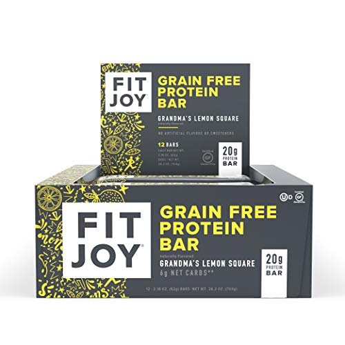 FitJoy Protein Bars, Grandma's Lemon Square, Gluten Free, Grain Free, Low Carb, 2.11 Ounce, 12 Pack