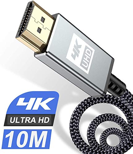Sweguard - Cavo HDMI 4 K 10 m HDMI 2.0 ad alta velocità 18 gbps, cavo HDMI 2.0 in nylon intrecciato, presa di ricarica 3D, lettore Blu-Ray / televisori / monitor Ultra HD PS3 / PS4