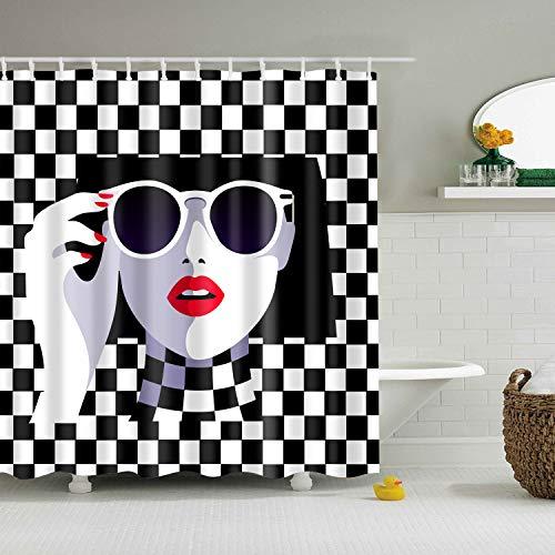 ZHANGSHUQI Schwarz-Weiß-Quadrat-Nähte auf dem Hintergr& Schöne Badezimmer-Duschvorhang aus strapazierfähigem Stoff Mehltau Badezimmerzubehör kreativ mit 12 Haken 180X180CM