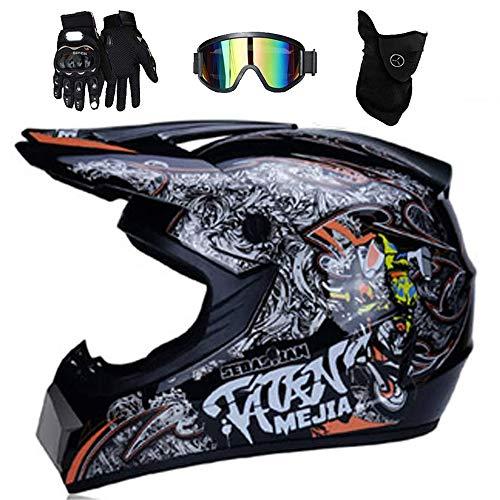 LEENP Casco de Motocross, Cascos de Motocicleta con Gafas Máscara Guantes, Motos...