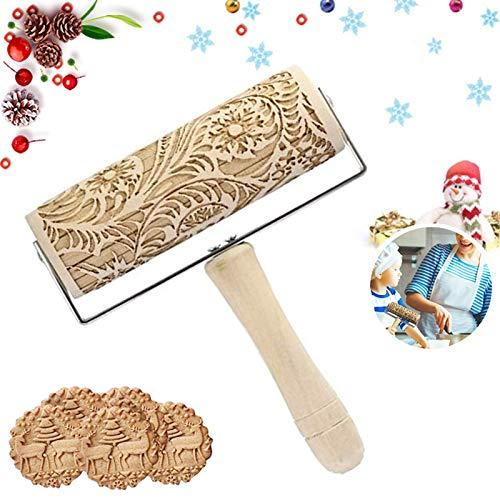 Sunshine smile Holz Teigroller,Weihnachten Elch Mustern Präge Nudelholz,Ausstecher mit Kugellager,Weihnachten Präge Nudelholz,Weihnachten Geprägt Teigroller mit Muster 3D Holz(B)