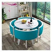 耐久性のあるテーブルと椅子のセット ダイニングテーブルと椅子コンビネーションモダンデザインレジャー表80センチメートルの大理石円卓のシンプルなスタイルホームバルコニーリビングルーム DYYD (Color : Royal Blue)
