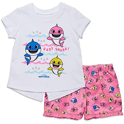 Conjunto de camiseta e shorts Pinkfong Baby Shark Girls French Terry, White/Pink, 5T