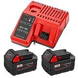 TPDL Caricatore rapido di ricambio con 2 batterie agli ioni di litio M18 da 5,0 Ah per utensili Milwaukee M18/18Volt C18B M18BX Li18 M18B4 M18 XCF 48-11-1850 48-11-1890