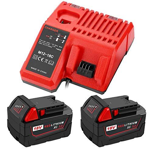 TPDL Cargador rápido de repuesto con 2 unidades M18 5.0 Ah batería de ion de litio para herramientas Milwaukee M18/18V C18B M18BX Li18 M18B4 M18 XCF 48-11-1850 48-11-1890