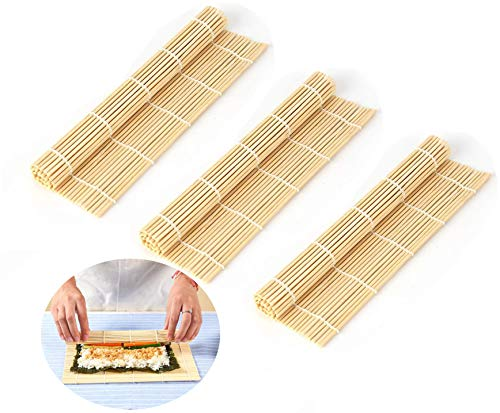 Premium Sushi Mat,3 PCS ,Made of Premium Bamboo with Nice Finishing, for Mixing Rice Vinegar Seasoning into The Sushi Rice,Quality Smooth Helper for Sushi