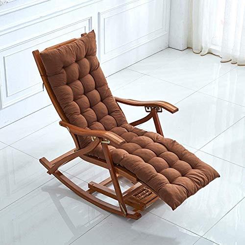 N / A Mecedora de bambú, Plegable y retráctil, Adecuada para balcón, Sala de Estar, Dormitorio, sillón reclinable Siesta, sillón con reposapiés y cojín de Masaje (Color : Marrón, Size : Long)