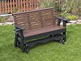 Ecommersify Inc 5FT-Cedar-Poly Lumber ROLL Back Porch Glider with Cupholder arms Heavy Duty Everlasting PolyTuf HDPE - Made in USA - Amish Crafted