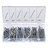 NEIKO 50454A Cotter Pin Assortment | 555 Piece | Zinc Plated Premium Quality | Steel Split Pin Fastener Clips | Straight Hairpins | Holds Pins or Castle Nuts in Place
