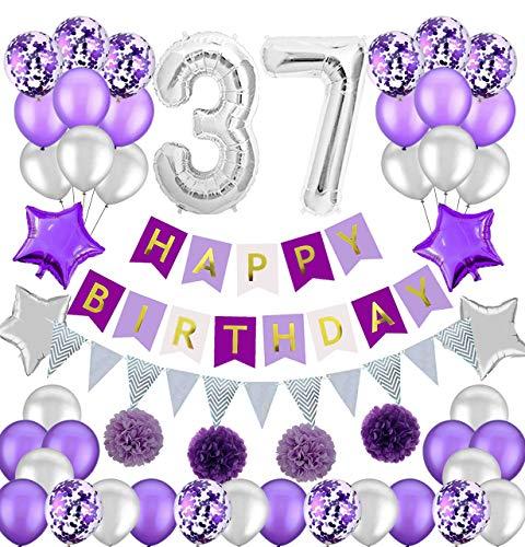 Colorpartyland - Juego de decoraciones de cumpleaños, color morado y plateado, guirnalda de papel con número 37, globos de látex y confeti, globos para mujer, número 37