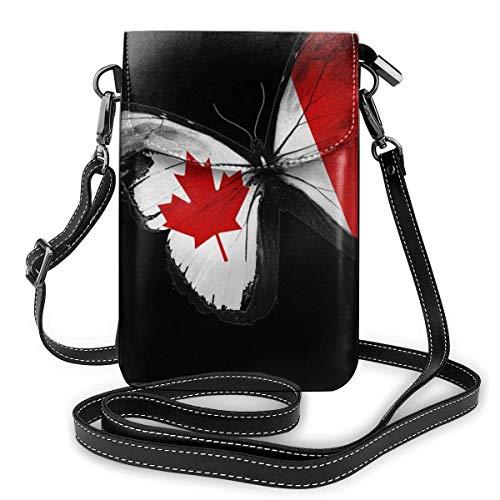 Kanadische Flagge Schmetterling Leder Handy Geldbörse Halter Brieftasche Functional Multi Poet für Frauen