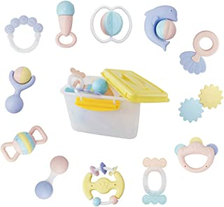 WISHTIME 12 pcs Baby Rattles Teether, Grab and Spin Rattle, Infants Teething Play Toys, Babies Chewing Silicone Teether, Shaker, Educational Musical Gift Set for 4, 5, 6, 9, 12, 18 Month Old, Newborn