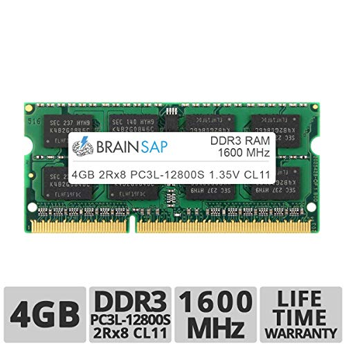 Brainsap 4GB DDR3 RAM SO-DIMM DDR3L PC3L-12800S 2Rx8 1600 MHz Arbeitsspeicher - CL11 204 PIN SODIMM - Laptop, Notebook & Netbook