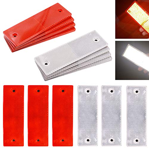 smseace 16pcs red/White Reflector Sticker Waterproof Plastics Material Stick-on/Screw-Holes Used for Truck,RVs,Motorcycle,Cars,Bus Reflective Tape