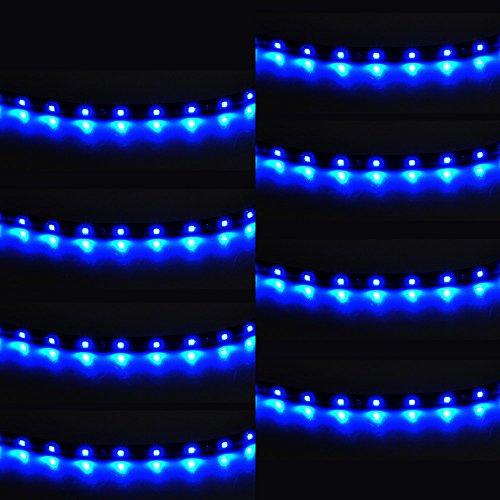 Mintice™ 8 X bleu 12V 15 Led véhicule automobile calandre 30cm de voiture bande de lumière underbody souple imperméable