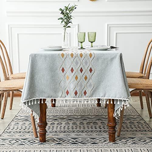 CNYG Mantel de cocina y mesa de poliéster, rústico, rectangular, mantel de granja, mantel para fiestas, cumpleaños, vacaciones, comedor, azul, 110 x 170 cm