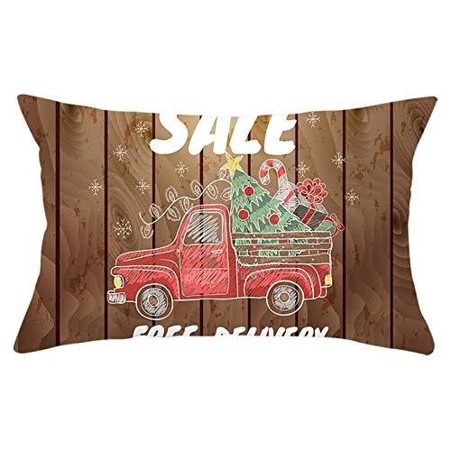 Aartoil Pillow Cases Home Decorations for Sofa Car With Christmas Tree Gift Box Candy Cane 12x20 Inches Rectangle Cushion Case for Sofa Couch, Brown Style 13