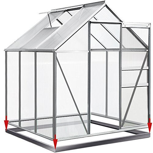 Deuba Base para invernadero   sólida y estable   Acero galvanizado   190 x 190 cm