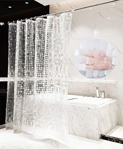 MICV Duschvorhang Durchsichtig Weiß - 100% Eva-Material Anti Schimmel wasserdichter Badvorhang Transparentes geometrisches Muster,Umweltfreundlich,Waschbar