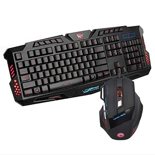 Lebron ray mechanisch toetsenbord verlicht met gaming-muis 5500 dpi, instelbare dpi-knop, 8 programmeerbare toetsen, met gekleurde LED-lampen, zwart voor PC