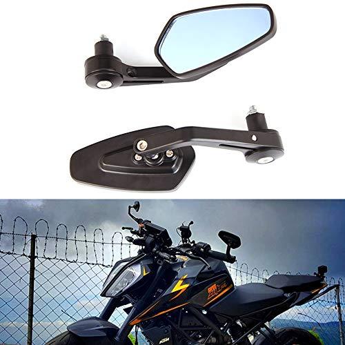 """7/8""""22mm Specchietti laterali neri per moto Bar End Manubrio Specchietti retrovisori laterali per scooter Cruiser Sport Bike Chopper"""