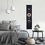 SY.Doot Moon Phase Tapestry Moon Tapestry Wall Hanging Art Bohemian Tapestries Cotton Linen Tpestry Living Room Bedroom (12.8 x 51.2 inches) (Black)