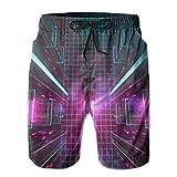 Sports Car Neon Lights Future Digital Art Men's Swim Trunks Quick Dry Beach Shorts Bathing Suits