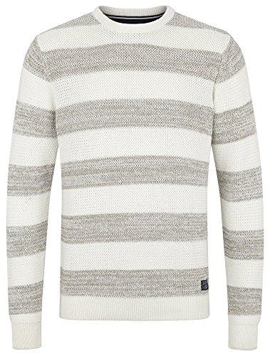 Jack mips gebreide trui voor heren, gestreept, zwart, wit, regular fit, katoen, winter, ronde hals, lange mouwen, maat S - XL