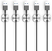 Cable Clips - Cord Organizer - Cable Management - Wire Holder System - 5 Pack Adhesive Cord Hooks - Home, Office, Cubicle,...