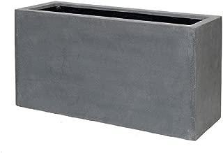 Basic Fiberstone Modern Rectangular Planter Box - Grey Flower Pot Sleek Balcony Size: 20