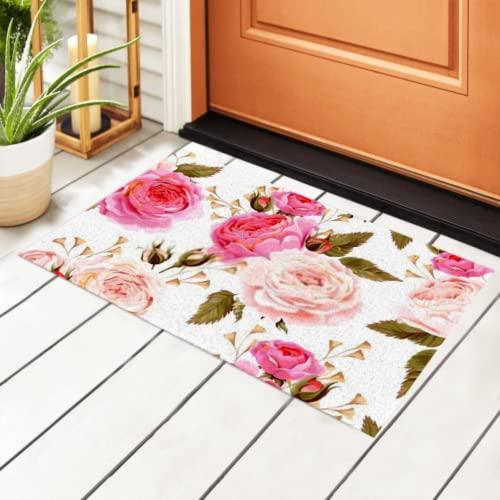 Alfombra de entrada antideslizante sin costuras con rosas inglesas para interior, alfombrilla de bienvenida para puerta delantera para cocina, baño, dormitorio, sala de estar, interior y exterior de