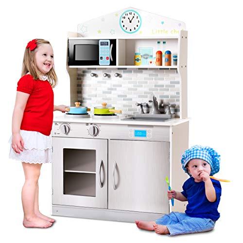 COSTWAY Kinderküche Holz, Spielküche für Kinder, Holzküche Kinderspielküche, Spielzeugküche mit Mikrowelle, Spüle, Wasserhahn, Herd, Schaltknöpfe, 57 x 28 x 95,5cm (grau)