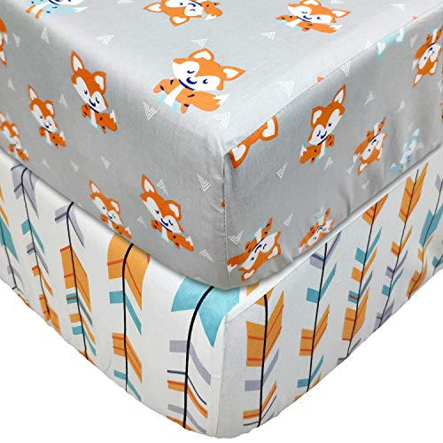 Brandream Fitted Crib Sheets Set 2 Pack Portable Crib Mattress Topper for Baby Boys Girls,Ultra Soft Cotton,Full Standard,Woodland Deer & Orange Arrow