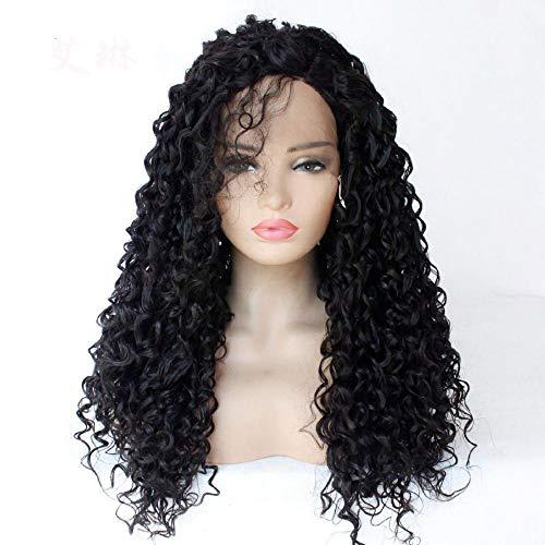 Pop met lang krullend haar, voorpruik, 24 inch, natuurlijk zwart, synthetische vezels op hoge temperatuur, Braziliaanse pruik