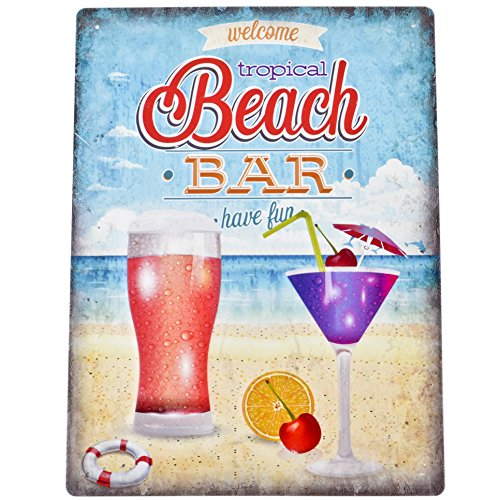 Dadeldo Living & Lifestyle Blechschild Beach Bar Maritim Design Metall 40x30cm bunt Retro Nostalgie Sprüche Reklame (Design 1)