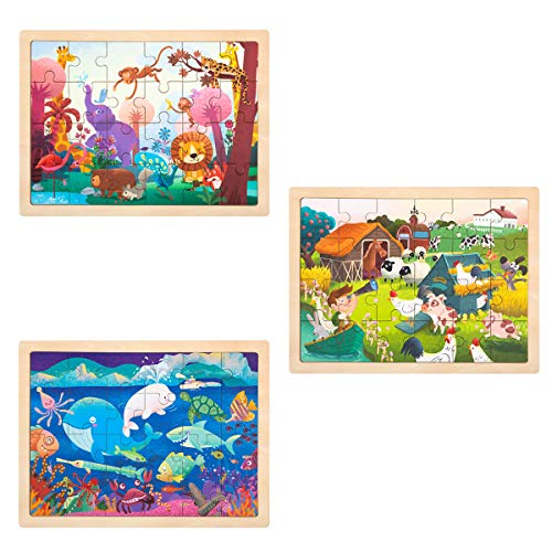 ROBUD Puzzle Madera Puzzles Infantiles 3+ años, Rompecabezas Madera con Animales ( Sea World+Wonderful Forest+ Happy Farm)