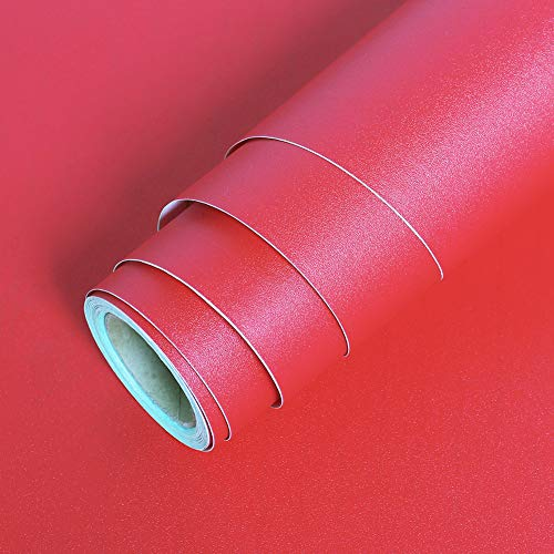 LaCheery Solid Textured Wallpaper Stick and Peel Cabinet Contact Paper 12'x160' Red Contact Paper Decoration Self Adhesive Wall Paper Roll Peel and Stick Wallpaper for Nightstand Shelf Drawer Liner