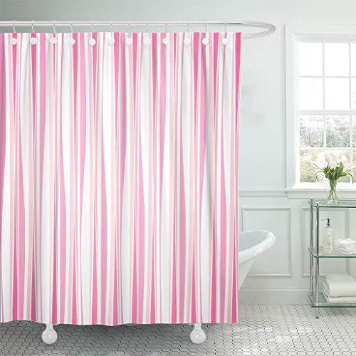 JOOCAR Design Duschvorhang, grafisches Streifenmuster, Linien, abstrakt, schön, weiß, rosa, Vintage, wasserdichter Stoff, Badezimmer-Dekor-Set mit Haken