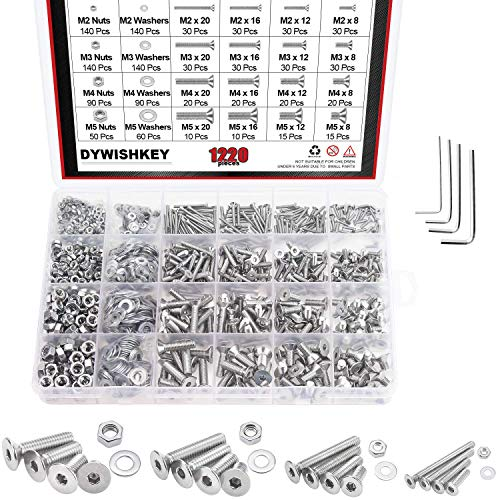 DYWISHKEY 1220 PCS M2 M3 M4 M5, 304 Stainless Steel Hex Flat Head Cap Bolts Screws Nuts Washers Assortment Kit with Hex Wrenches