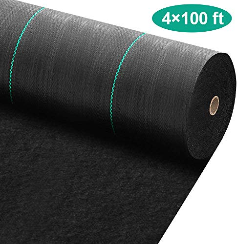 Amagabeli 4ft x 100ft Weed Barrier Landscape Fabric 5.8oz Heavy Duty Ground Cover Weed Cloth Geotextile Fabric Durable Driveway Cover Garden Lawn Fabric Outdoor Weed Mat