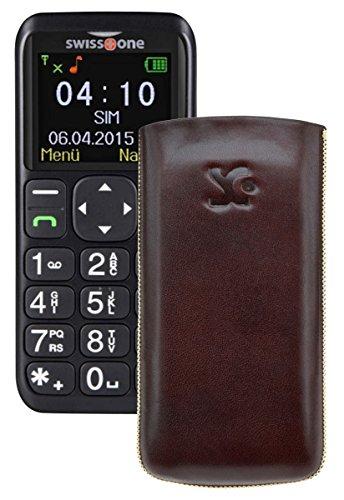 Suncase ECHT Ledertasche Leder Etui für Swisstone BBM 410 Tasche (Lasche mit Rückzugfunktion) in braun