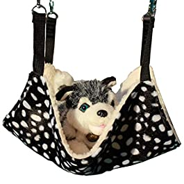 HAODEE 1Pcs Plush Cat Hammock Thick Warm Comfortable Pet Bed Black and White Round Dots Pattern for Cat Rabbit Chinchilla Cat