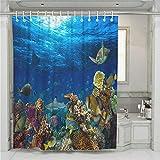 Treer Anti-Schimmel und Wasserdicht Duschvorhang für Badezimmer, Meerestier 3D-Druck mit 12 Duschvorhangringe Waschbar Duschvorhang (Koralle,180x200cm)