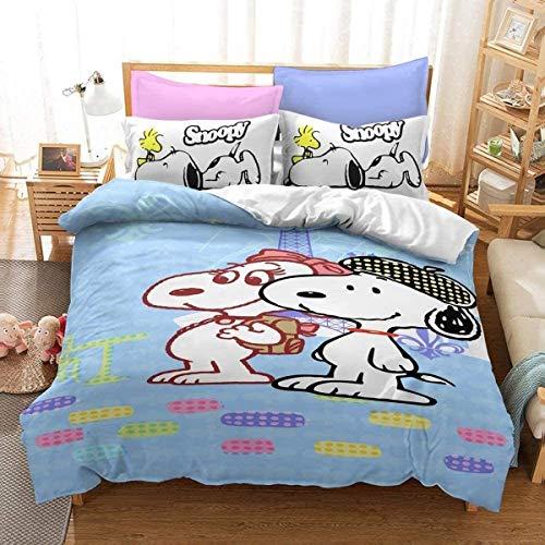 QWAS Juego de cama con diseño de Snoopy, 3 piezas, 1 funda nórdica y 2 fundas de almohada, funda nórdica con estampado 3D, sábana infantil (R1,200 x 200 cm + 50 x 75 cm x 2).