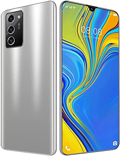 WH-ENTER Smartphone Sin SIM, Teléfono Móvil, 12GB + 512GB, Puede Mostrar 4G / 5G Network 5600mah Capacity Battery Cheap Smart Phone (Color : Silver)