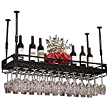 LXYPLM-WR1 Wall Mounted Wine Rack Ceiling Storage Shelf Black Hollow Out Iron Multifunctional Display Shelf Adjustable Height Hanging Wine Glass Racks(Size:150 * 35cm)