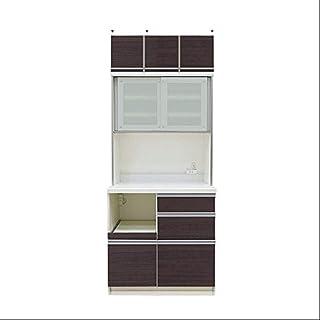 [高さ210.5cm] Pamouna(パモウナ) QFシリーズ QF-S900R 上棚付き食器棚/キッチンボード [引き戸] (幅90cm, 奥行き45cm, カカオチェリー)